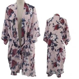 FLORAL KIMONO COVER UP WITH WAIST TIE
